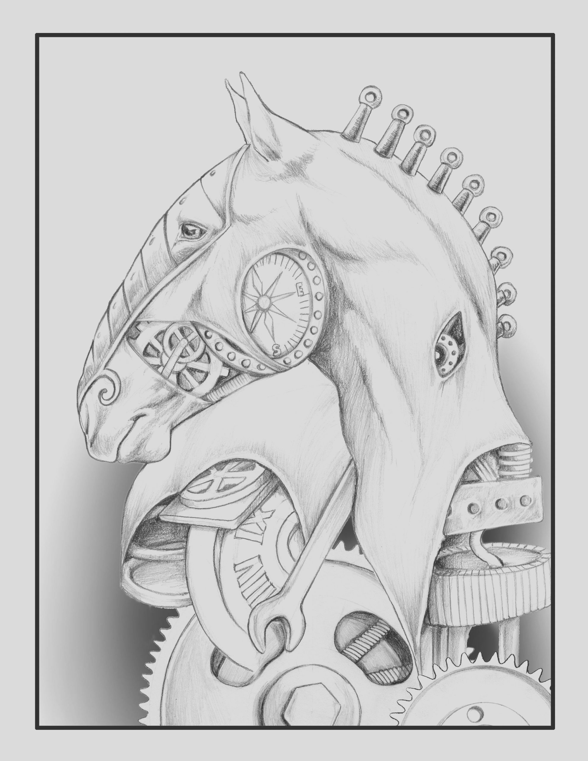 adult coloring page steampunk horse for