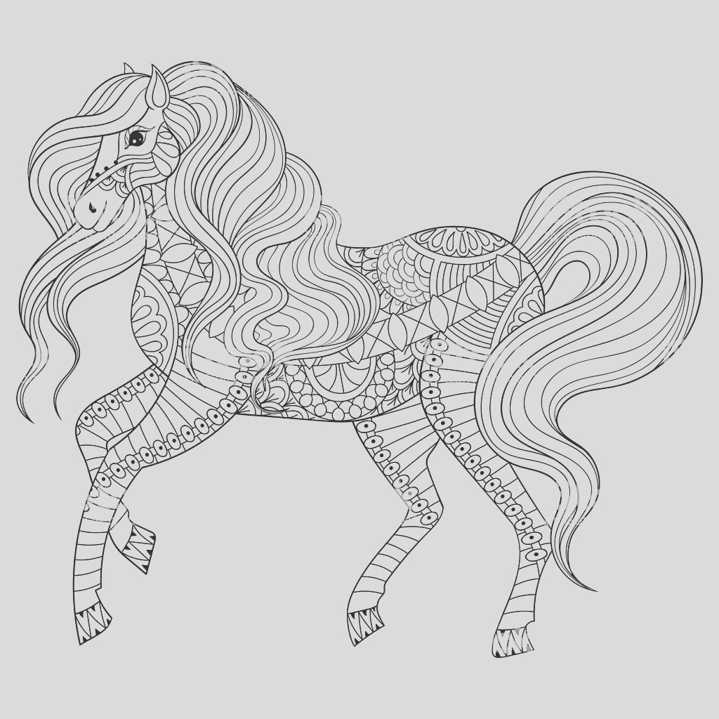 hand drawn horse for adult coloring page art therapy gm