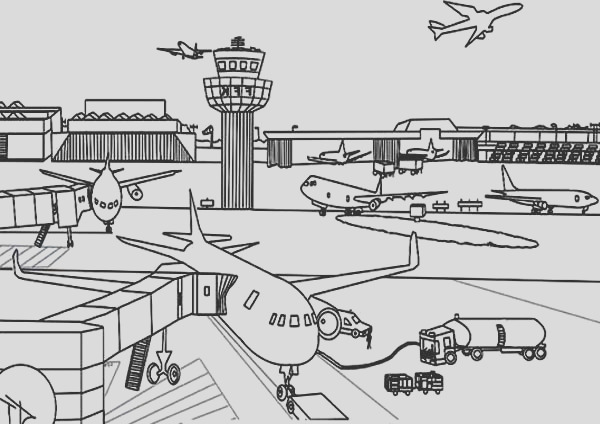 airport coloring page for kids