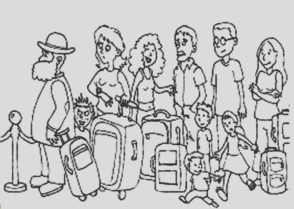 passanger in line at counter at airport coloring page