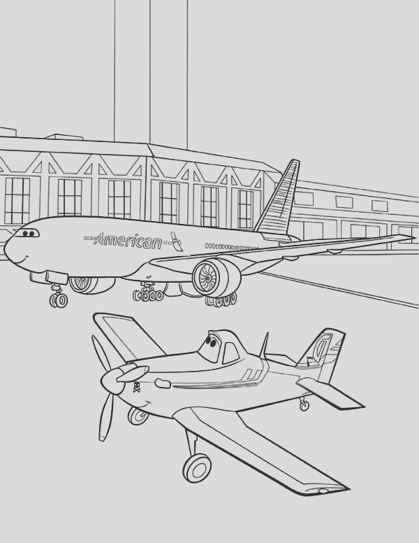 little plane meet big plane at the airport coloring page