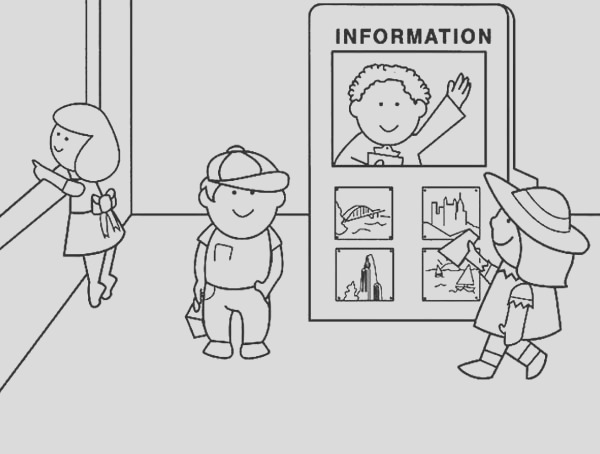 airport information officer coloring page