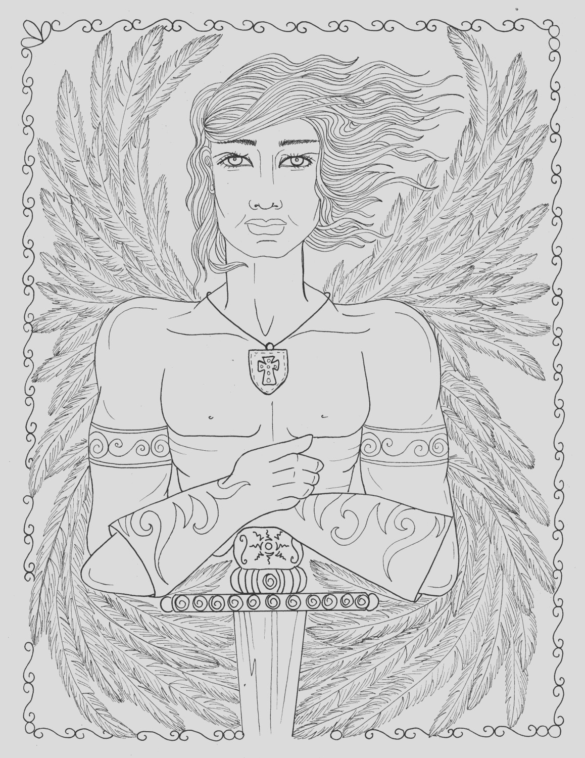 male warrior angel coloring page instant