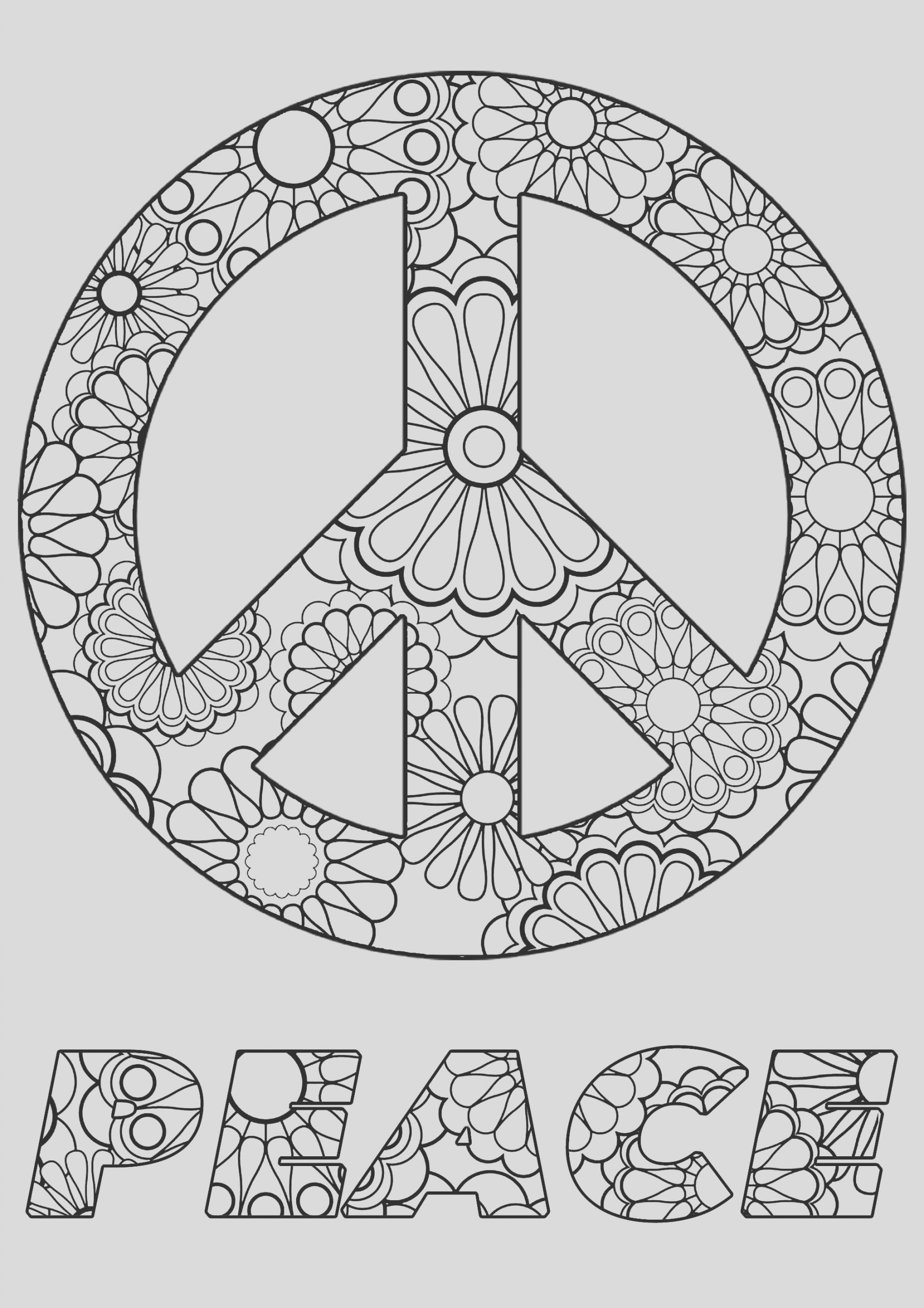 image=anti stress coloring peace symbol and flowers 1