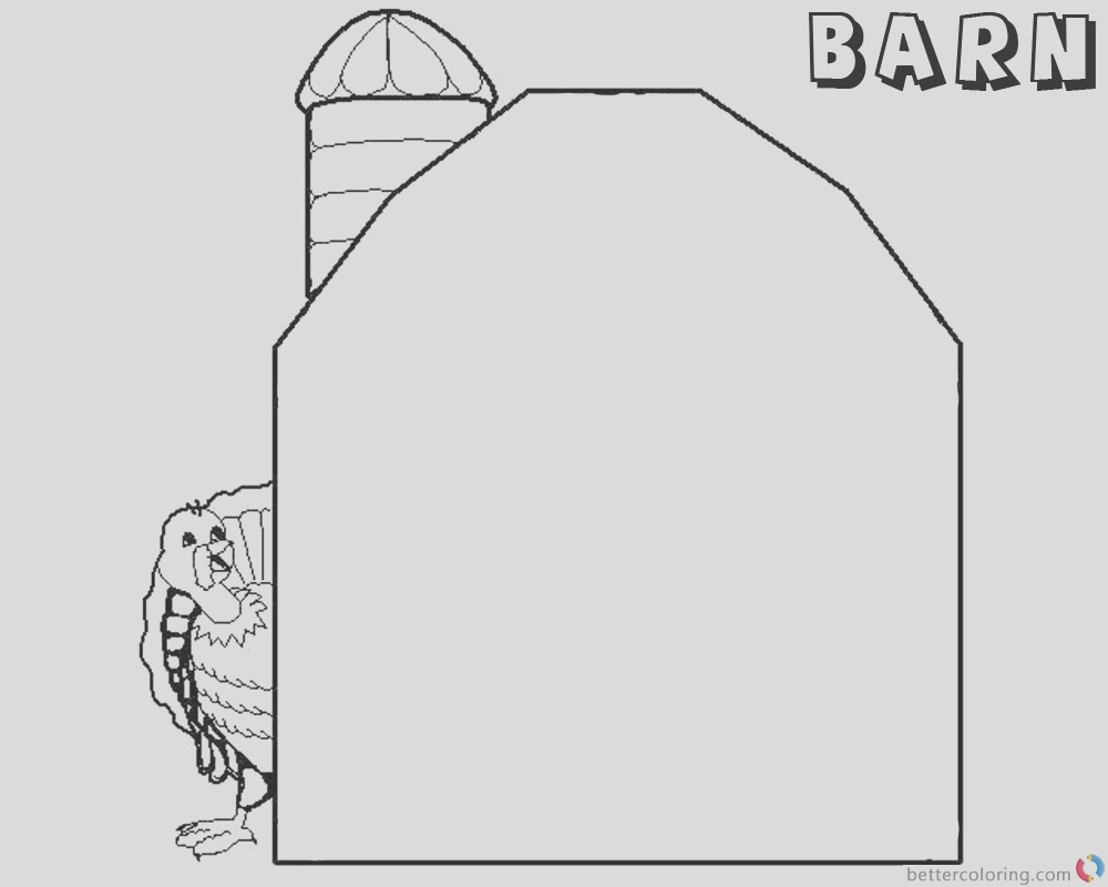 barn coloring pages barn and turkey