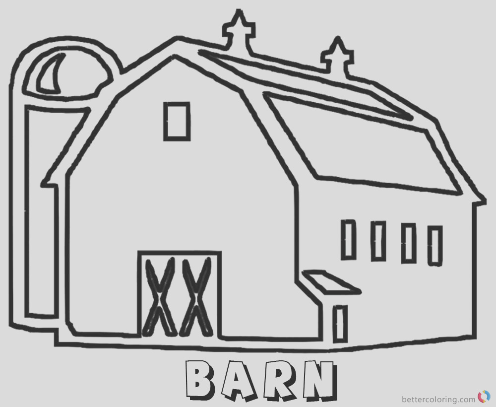barn coloring pages a large barn