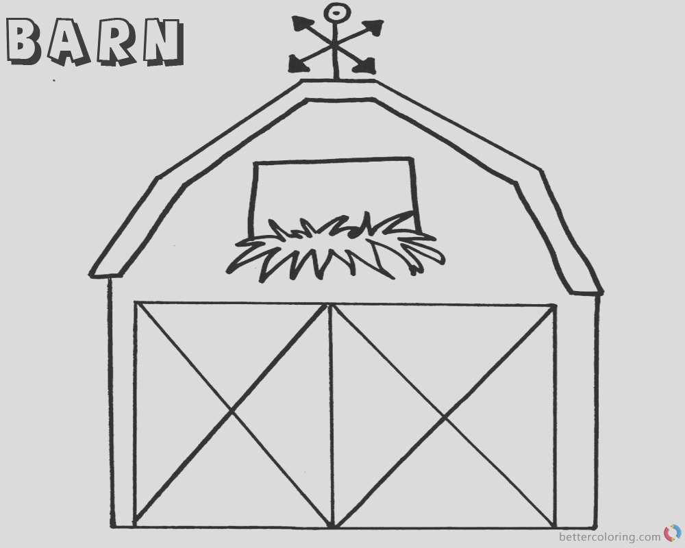 barn coloring pages flowers in the window