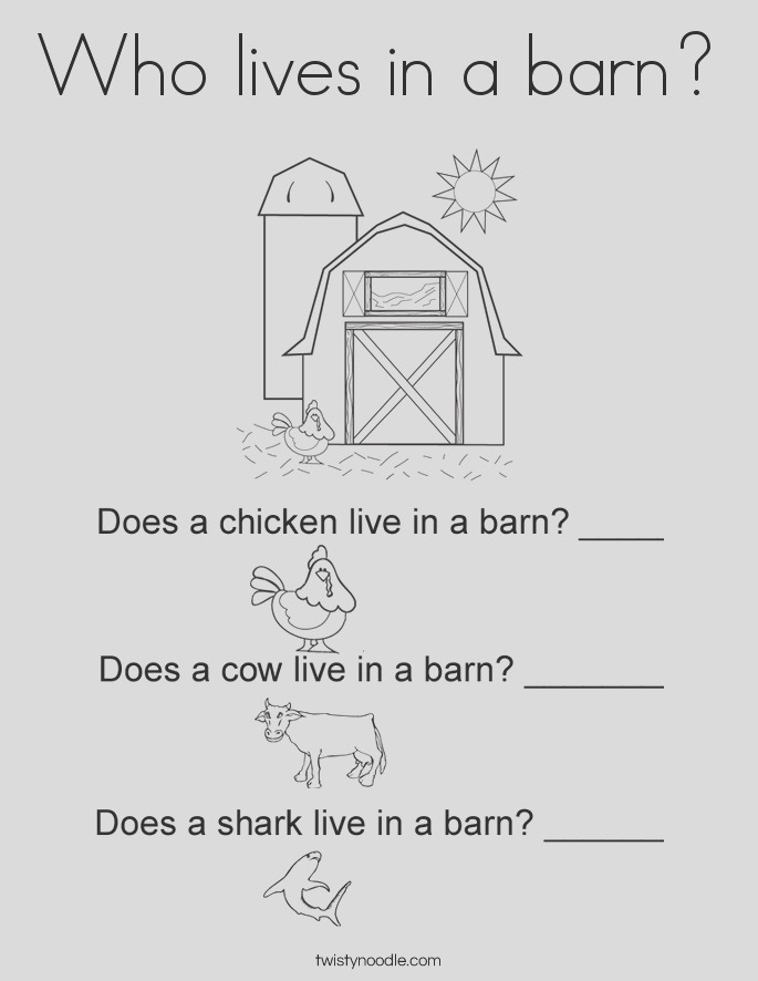 who lives in a barn 2 coloring page