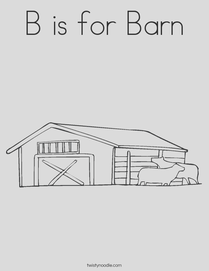 b is for barn 6 coloring page
