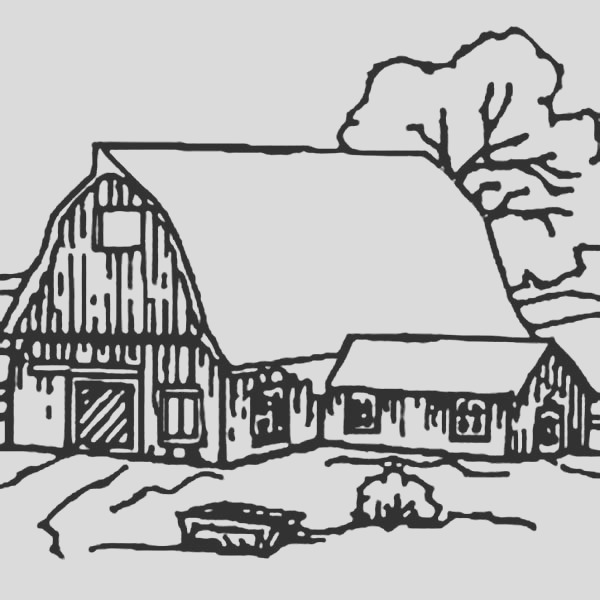barn house covered with snow coloring page