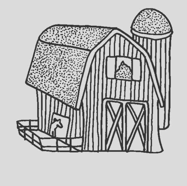 picture of barn coloring page