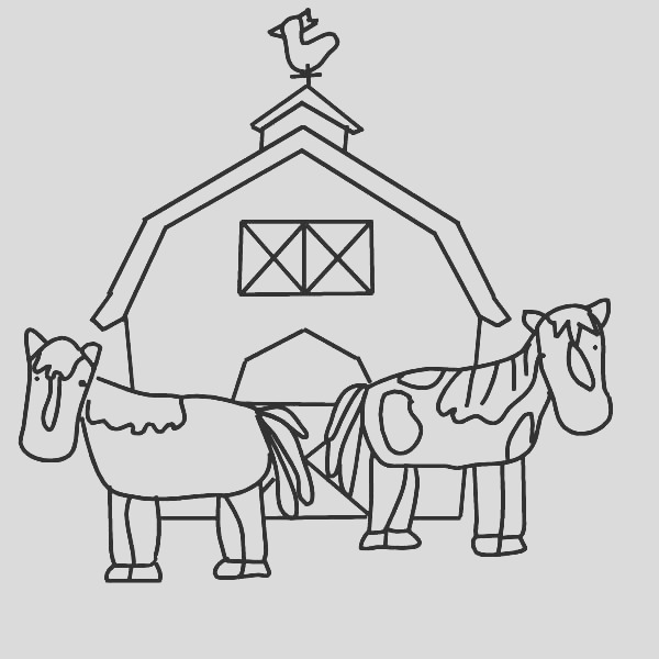 barn and two working horse coloring page