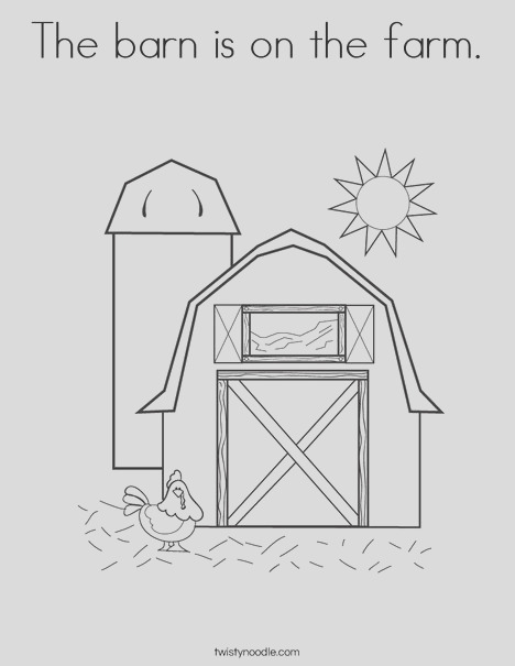 the barn is on the farm coloring page