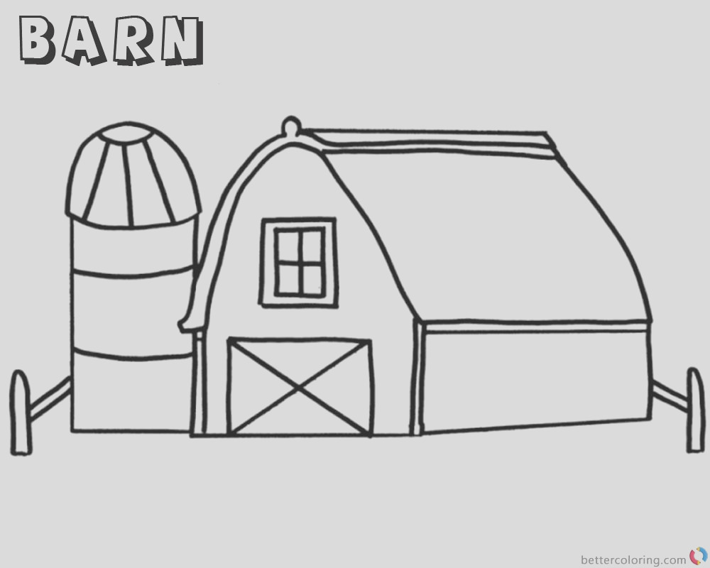 barn coloring pages simple for kids