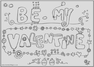 valentines day colouring pages