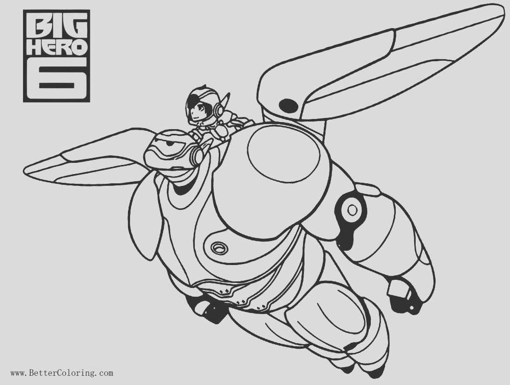 big hero 6 coloring pages baymax flying with hiro