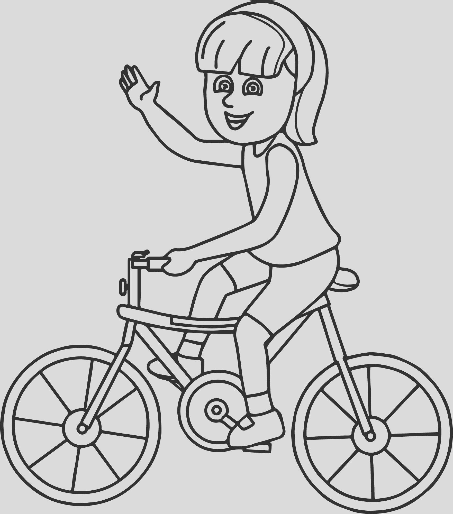 riding girl bicycle coloring page