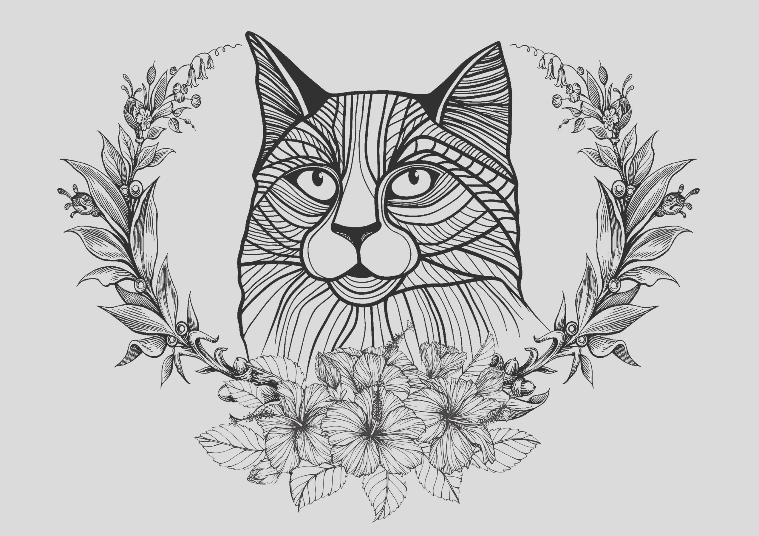image=cats coloring cat and laurel wreath 1