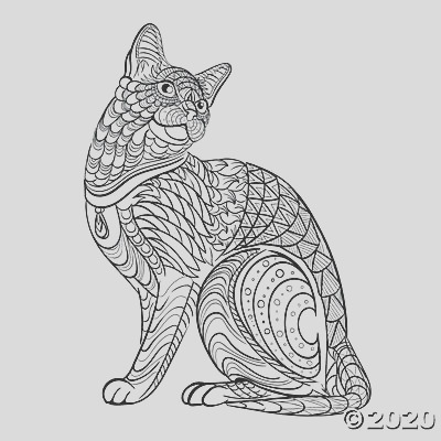 tribal cat adult coloring page free printable a2 fltr