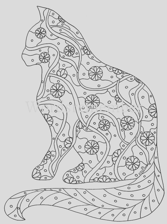 cat coloring page coloring pages adult