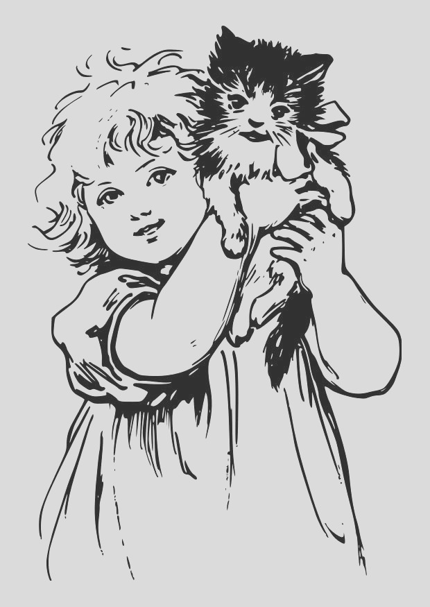 coloring page girl with cat i