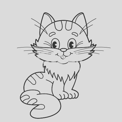 coloring page outline of cartoon fluffy cat for kids gm