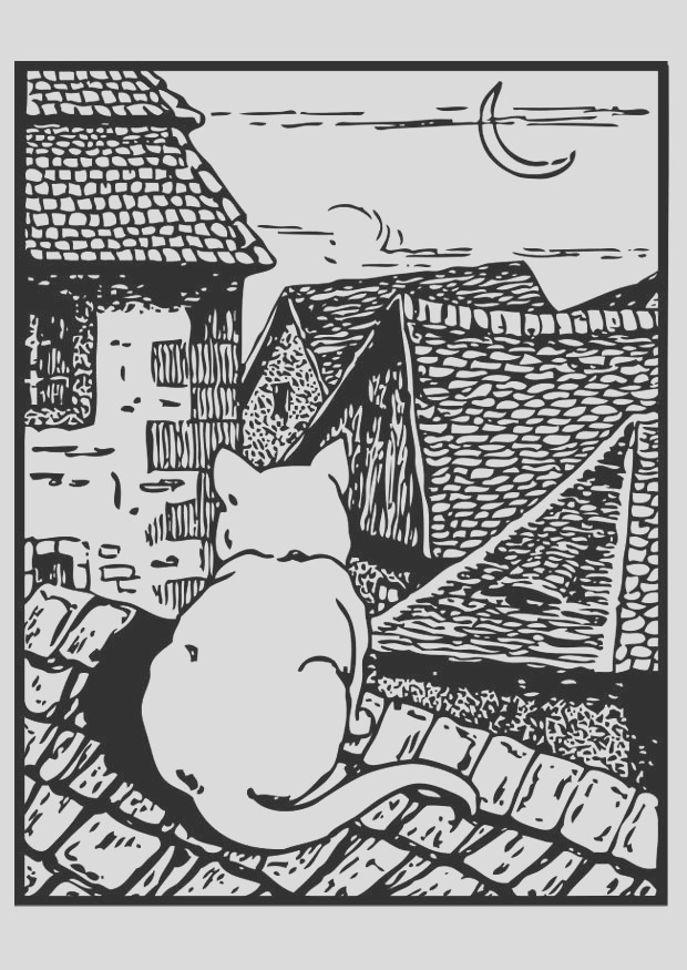 coloring page cat on the roof i
