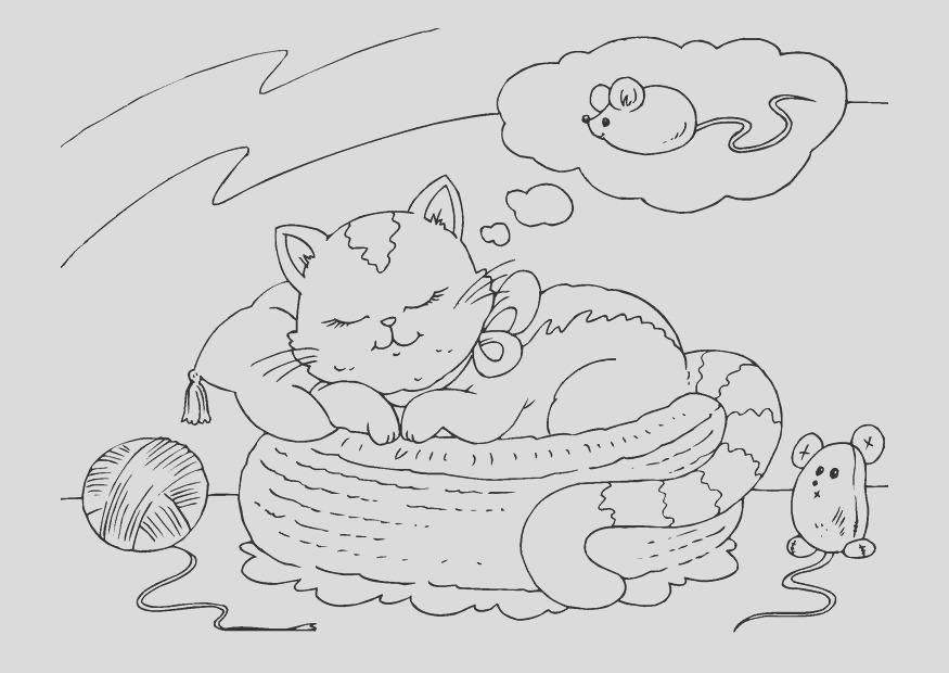 coloring page dreaming cat i
