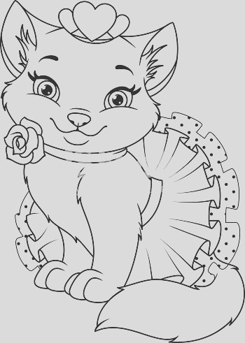cat princess coloring page gm