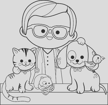 veterinarian and pets coloring book page gm