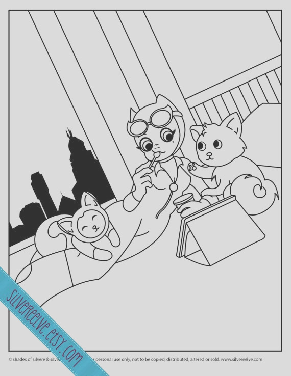 cute catwoman printable coloring page