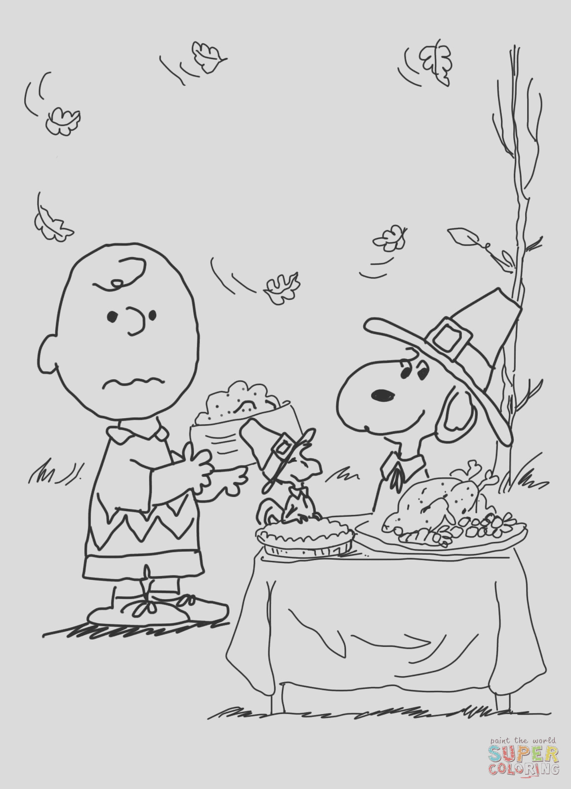 charlie brown coloring pages thanksgiving