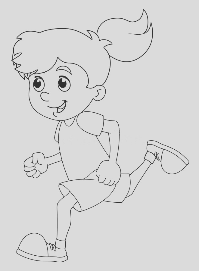 stock illustration cartoon child training girl coloring page isolated happy colorful traditional illustration children image