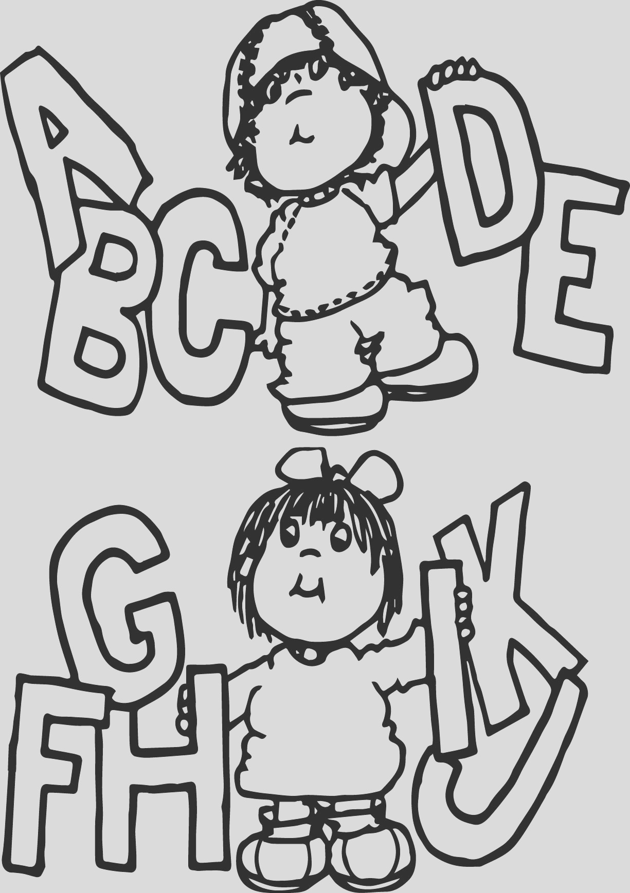 children writing kids coloring page