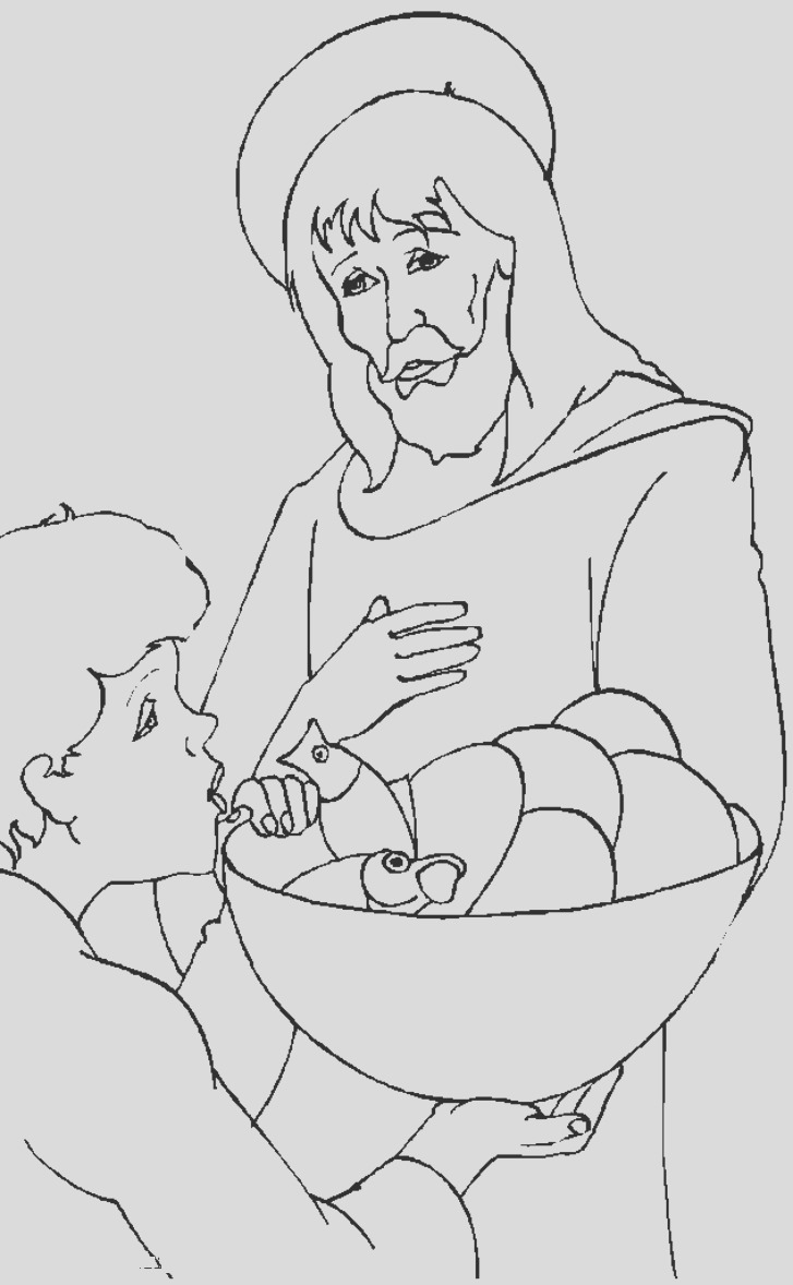 jesus with little children coloring page