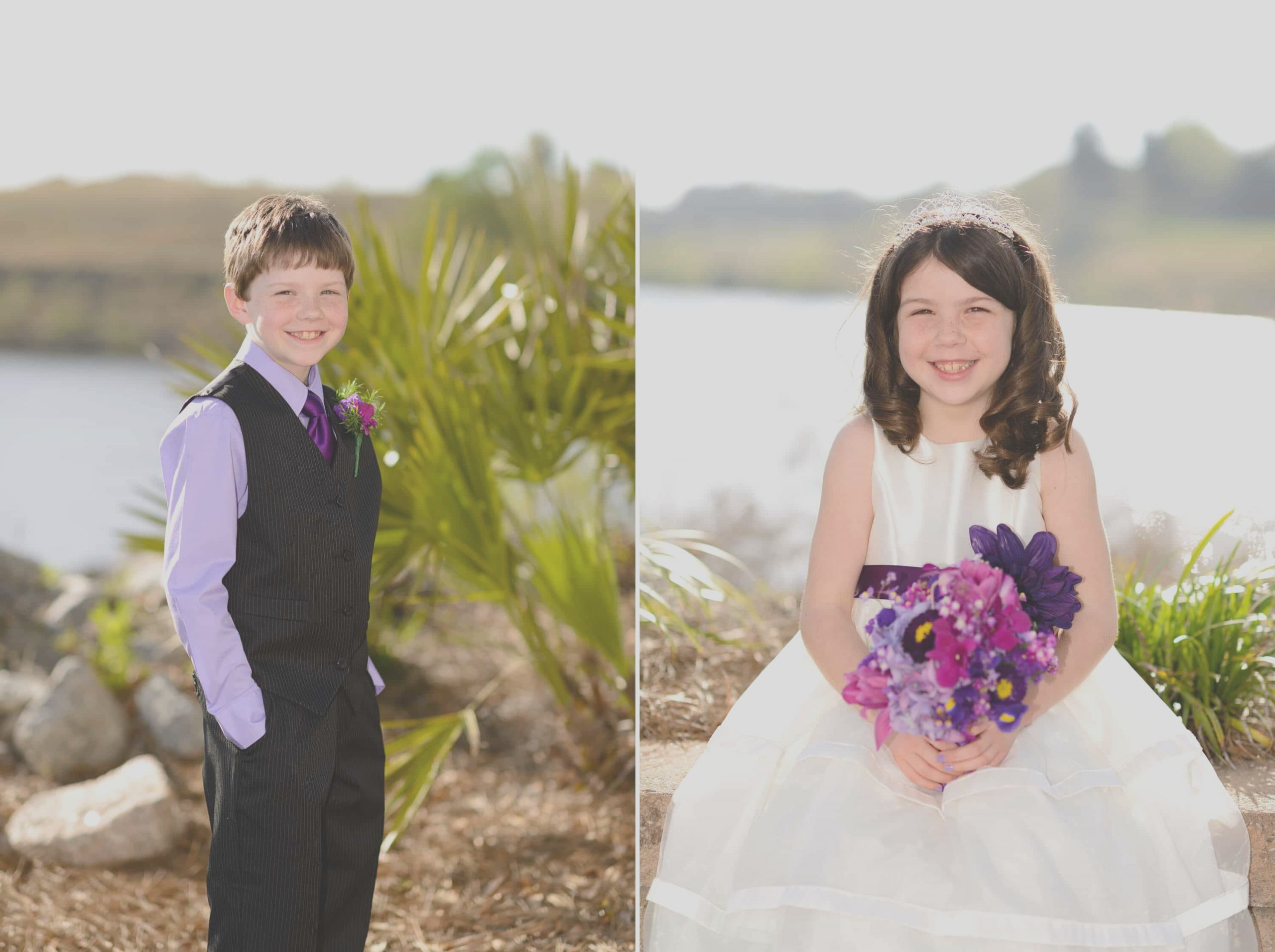 wedding of mother with four fun kids at the marina inn with reception at joes crab shack