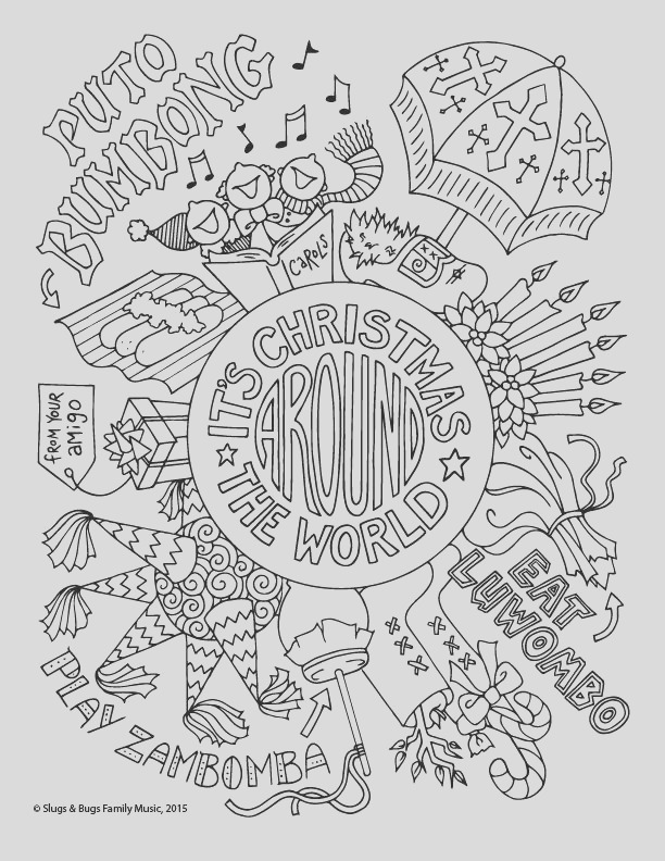 christmas around the world coloring page