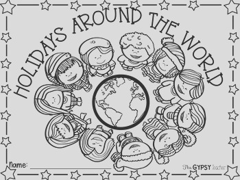 Christmas Around The World Book Cover and Coloring Page FREE