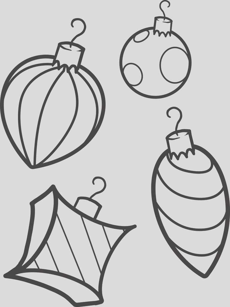 variety of unique christmas ornaments coloring page a4218