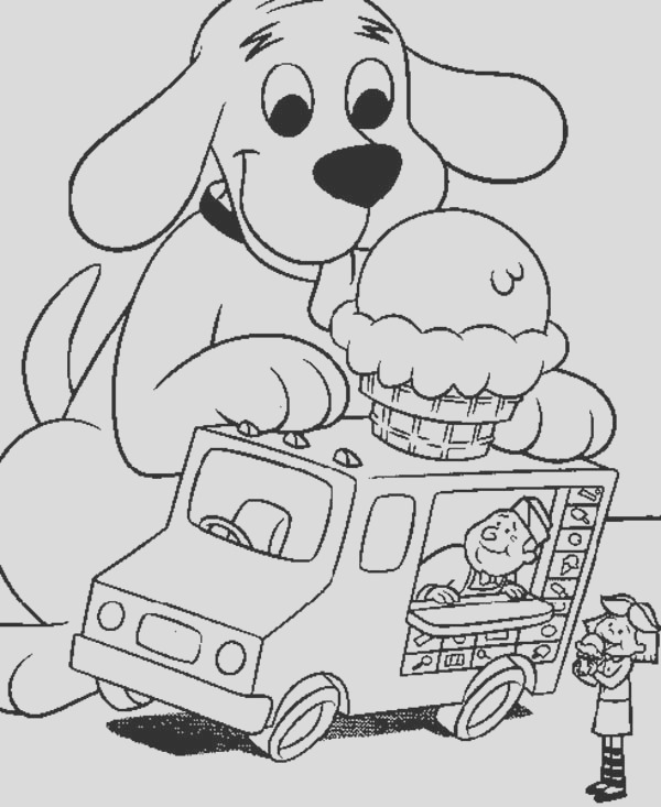 clifford the big red dog like ice crean on top of car coloring page