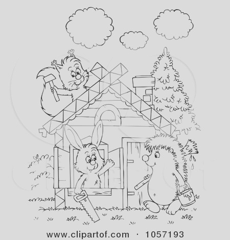 coloring page outline of animals building a cabin