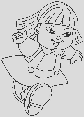 kids coloring pages little girl runs