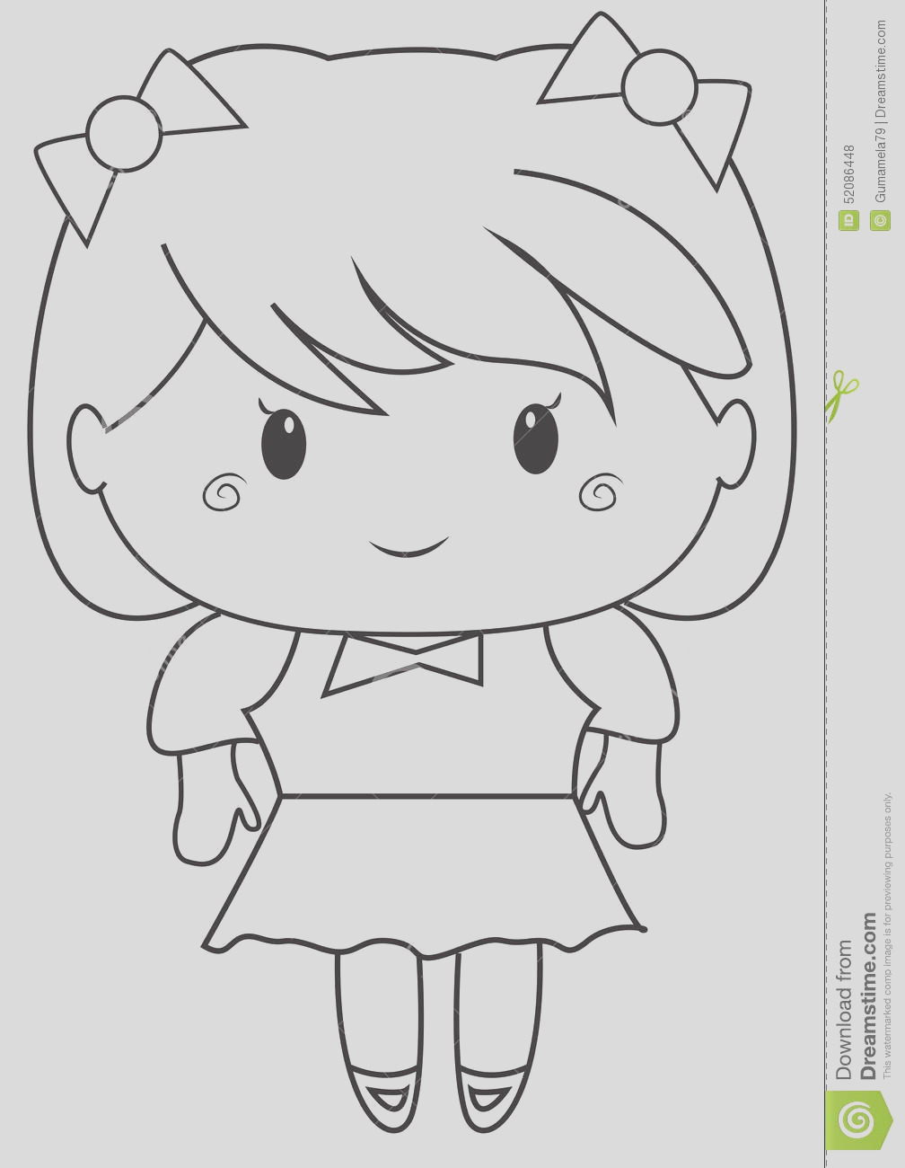 stock illustration little girl coloring page useful as book kids image