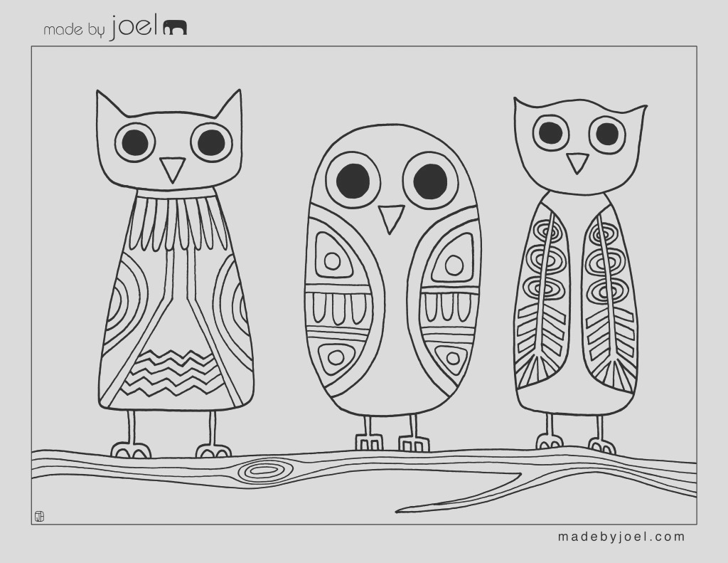 owls coloring sheet