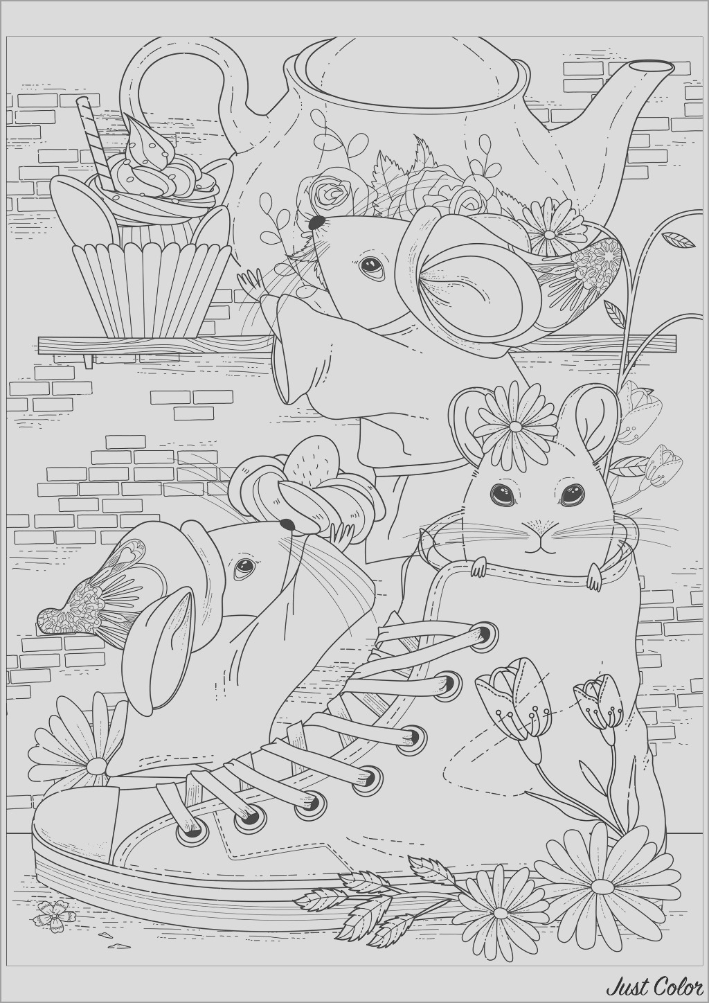 mouse coloring page for adult