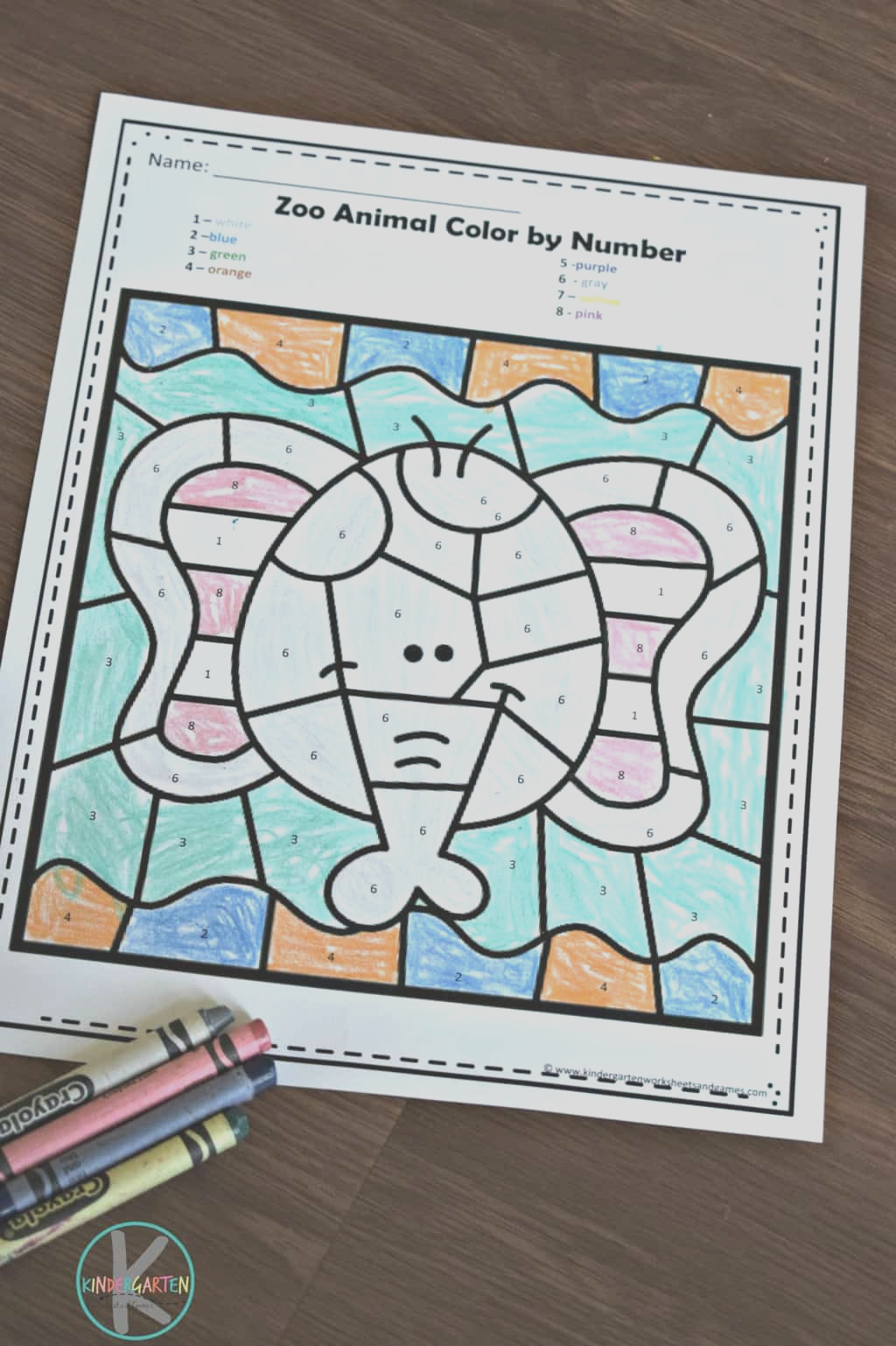zoo animals color by number worksheets