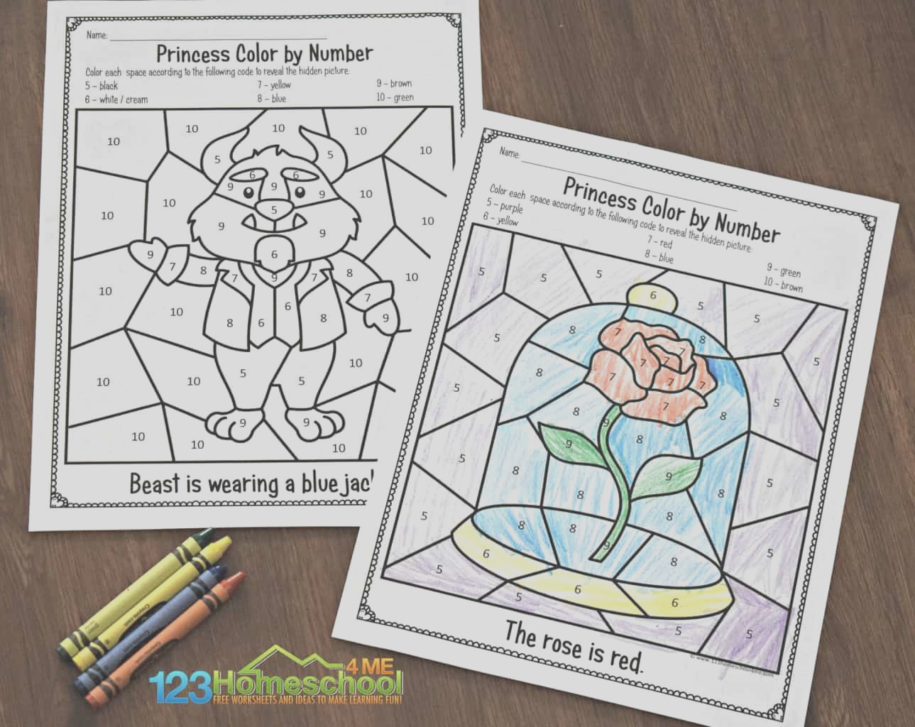 beauty and the beast color by number worksheets