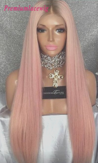 Buy lace front wig pink color straight human hair wig 24inch