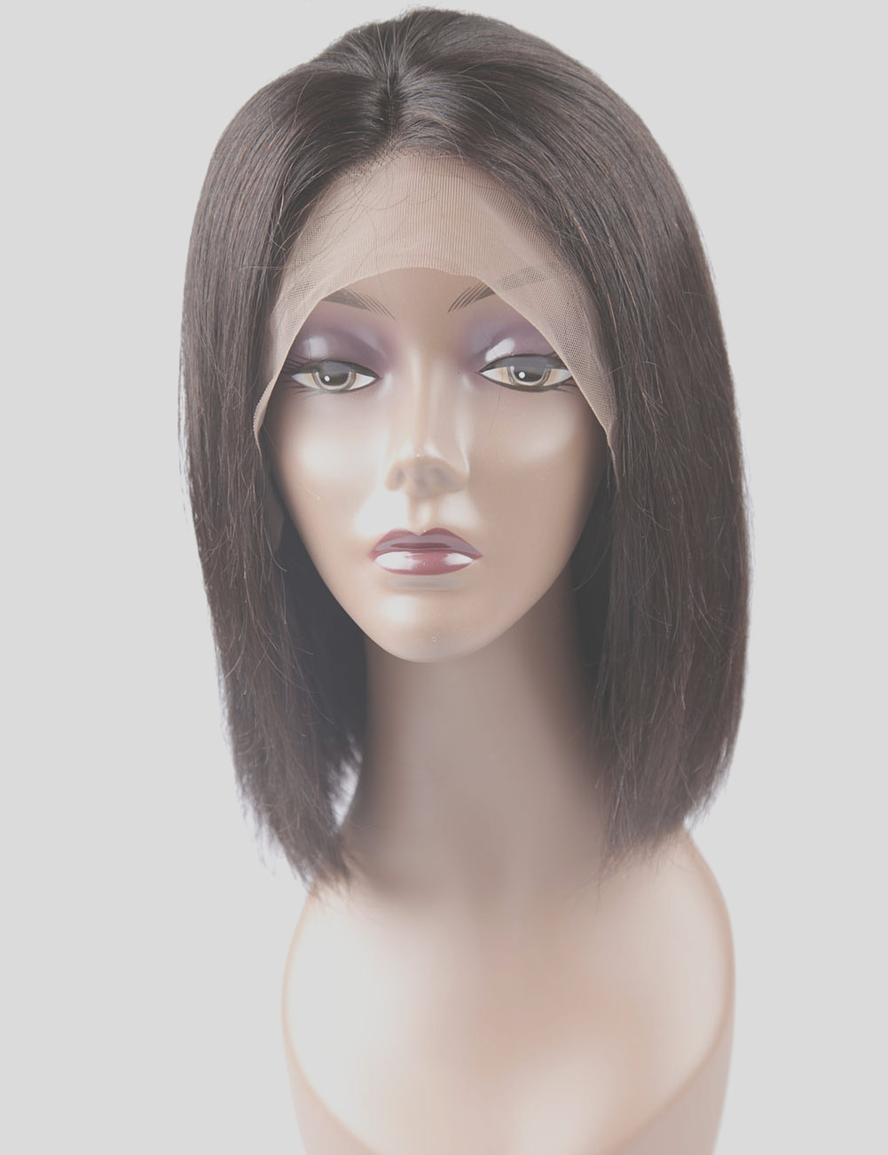 Straight Pre Plucked Front Natural Color Human Hair Full Lace Wigs p