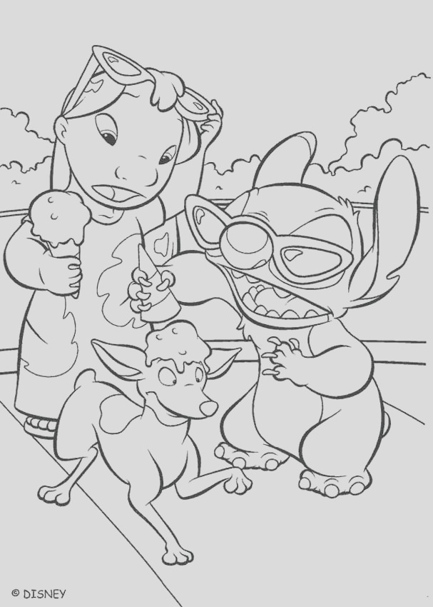 lilo and stitch eating an ice cream
